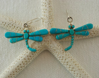 Vintage Sterling Silver Inlaid Dragonfly Turquoise Pierced Dangle Earrings  .....5193