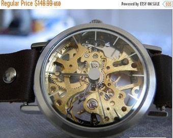 Skeleton Watch Leather Watch-Women wrist watch-Bracelet wrap Watch Steampunk Mechanical Bracelet Watch- brown Genuine leather retro Watch