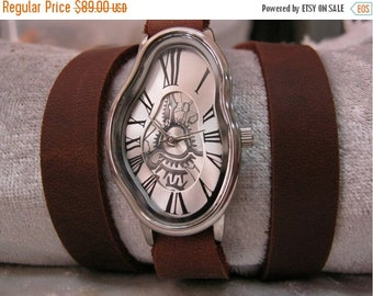Personalised Watch Brown leather bracelet watch handmade women's wrist watch vintage style leather watch watch Dalie Fluid Wrist Watches