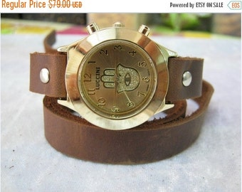 Jewish Zionist Hamsa Leather Wrap Watch Leather Accessories - Wrist Watches-Leather Watches-Men's Women's Retro Watches- bracelet Cuff Watch