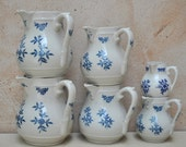 Rare Set of Antique French Country Jugs - Blue and White Stoneware - St. Uze