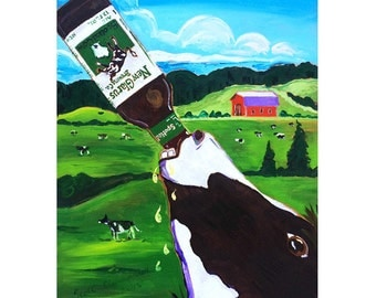 Wisconsin Beer Art, Spotted Cow Print, New Glarus Brewing, Animals and Beer, Gift for Husband, Gift for Brother, Farm Painting, Bar Beer Art