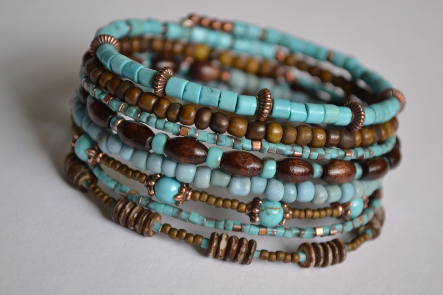 turquoise and brown memory wire bracelet boho wrap bracelet