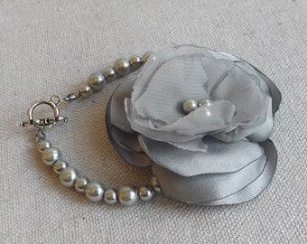 Pearl Bracelet with Grey Satin & Chiffon Flower