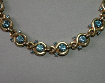 Vintage Sky Blue Rhinestone Necklace