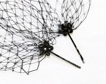 Black French Netting Birdcage Visor Bandeau Veil Black Flower Bobby Pins
