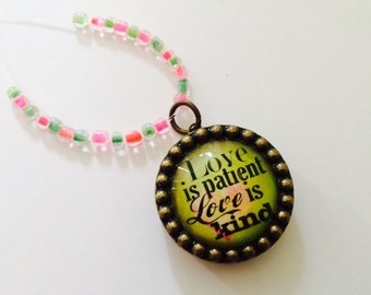 Rear View Mirror Charm, Love Is Patient Love is Kind, Car Charm, Rearview Mirror, Car Accessory with locket