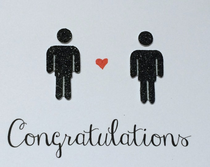 Congratulations Gay Wedding Card, With Two Glittery Men, hand drawn, made on recycled paper, comes with envelope and seal