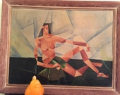ABSTRACT CUBIST OIL Painting Large of Semi Nude Male Figure Semi Nude Female Signed and Dated 1940's Modernist Oil Painting at Modern Logic