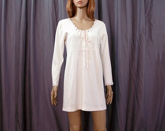 Vintage 1980s Mini Nightgown White Pink Lacy Soft Cotton Knit Nightie / Small to Medium