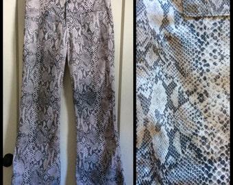 1960's Snakeskin Print Bell Bottom Jeans 32 inch waist 32 x 31