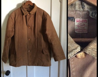 1910's 1920's Antique Vintage Utica DuxBak Hunting Jacket size 42 Bird Jones and Kenyon Canvas Duck Union Made