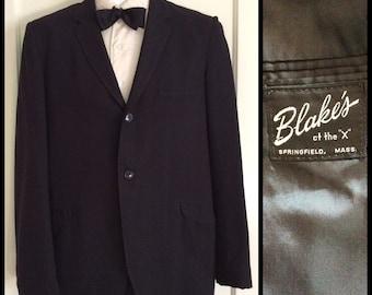 Vintage 1960's Black Dinner Suit Jacket looks size Medium 2 button
