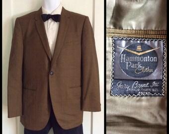 1960's Brown Glen tiny Check Plaid Bronx Suit Jacket single button no vents Blazer looks size M