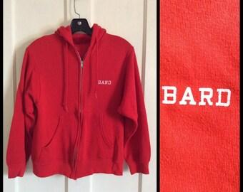 1970's Bard College Red Zip up Hoody Sweatshirt looks size S