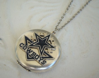 Silver Large Locket Football Necklace Wedding Bride Bridesmaid Wife Mother Birthday Wife Friend Daughter Pictures - Dallas