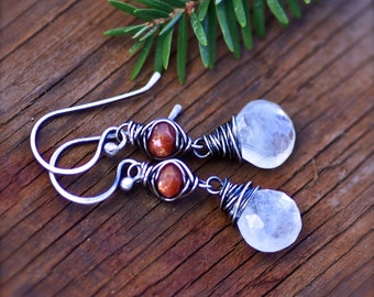 Rainbow Moonstone and Sunstone Gemstone Earrings in Oxidized Sterling Silver