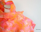 Felted scarf in orange pink light airy wool silk
