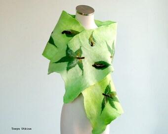 Green Maple Leaf hand felted wool scarf