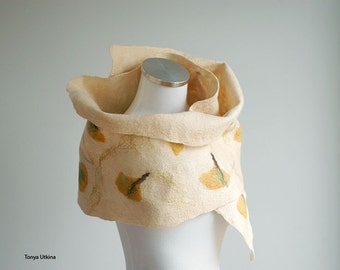 Ginkgo leaves hand felted scarf in yellow, light beige