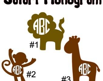 2-10 inch Safari Monograms