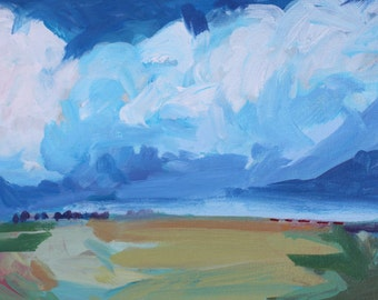 Original Acrylic Landscape: Big Blue Clouds