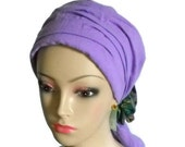 Scarf Turbans Lavender | Gauze  Volumizer Chemo Headwear | Cancer Patient Hat | Hair Covering | Tichel Mitpachat Head Wrap | Beach Snood
