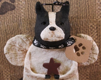 Boston Terrier Angel, OOAK, handmade from papier mache, BOSTON ANGEL