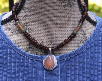 Carnelian Shell Oxidized Sterling Silver Boho Southwestern Woodland Tribal Necklace