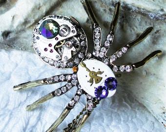 Black Widow Spider Necklace, Steampunk Watch Movement Necklace, Cyborg, Watch Parts, Gears, Cyberpunk, Gothic, Mechanical Spider     C 8-6
