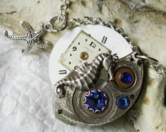 Steampunk Necklace Watch Movement Capri Blue Swarovski Crystals Silver Seahorse   C 2-13
