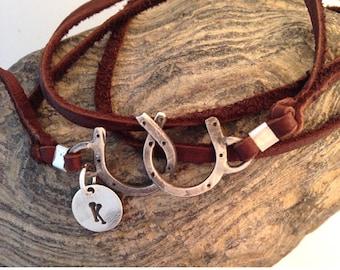 Original Double Horseshoe bracelet with initial charm