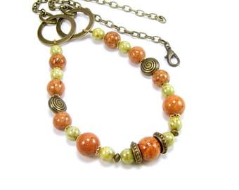 Gemstone Jewelry Necklace, Riverstone Rustic Chunky Beaded Necklace, Handmade Gemstone Jewelry