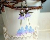 Lavender and Blue Tulip Spring Earrings,Purple Pink Wedding Bridal Earrings,Long Earrings