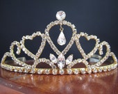 Vintage Rhinestone Tiara Crown with Teardrop Heart - Beautiful Bridal or Pageant Hair Jewelry