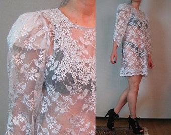 80s SILVER CROCHET LACE Pewter Puff Puffed Sleeve Scalloped Hem Sheer Mini 3/4 Sleeve Tunic Shift Dress xs Small s/m 1980s