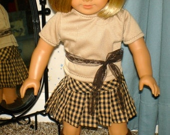 18 Inch Most Popular Dolls Three Piece Outfit, Brown Black Check Pleated Skirt, Brown Tshirt, Knee Socks by SEWSWEETDAISY