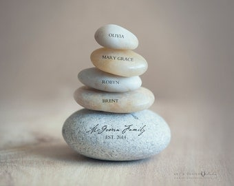 Christmas Gift for Grandparents, Personalized Grandparent Anniversary Present, Grandparents Day Gift, Generational Family Print, Family Rock