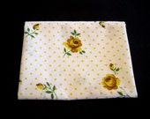 Vintage Cannon Monticello Yellow Roses Dots on Pure White Reclaimed Sheet Fat Quarter