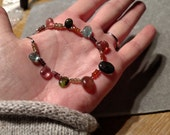 SET Multi-colored  sapphire and Tourmaline on sterling silver necklace by Evydaywear