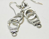 Fifty Shades of Gray Handcuff Earrings, Unisex Sterling Silver and Pewter, 50 Shades of Grey Jewelry, Police BDSM Jewelry Bondage Dominatrix