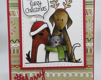 Handmade Card, Greetings, Gift, Christmas, Winter, Simon Says Stamp, Furry Christmas Trio Card