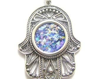 925 Sterling Silver Roman Glass  Filigree Hamsa Pendant necklace