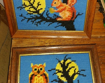 Vintage Needlepoint Squirrel and Owl Framed Stitchings Pair Halloween Fall Themed Wall Decor