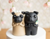 Pug Wedding Cake Topper - Black Pug and Fawn Pug by Bonjour Poupette