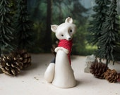 Christmas Fox - Arctic Fox Figurine with a Red Scarf by Bonjour Poupette