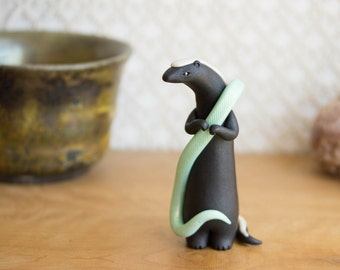 Honey Badger Figurine with Glow in the Dark Snake by Bonjour Poupette