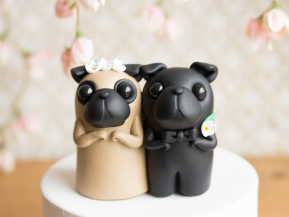 Pug Cake Topper Bride Groom