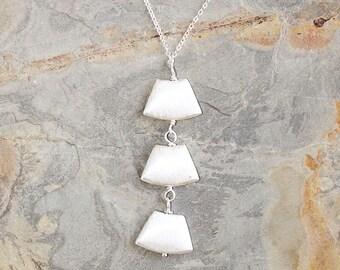 Fan Necklace, Modern Necklace, Geometric Necklace, Christmas Necklace, Trendy Necklace, Silver Necklace, Handmade Necklace, Holiday Necklace