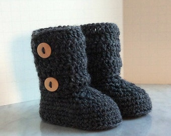 merino wool tall ugg style double button cuff baby booties boys girls in charcoal grey wood buttons boxed size 0 to 6 months warm and woolly